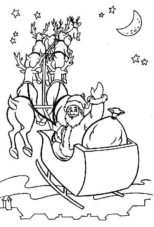 Disegni Babbo Natale: Disegno Babbo Natale che saluta