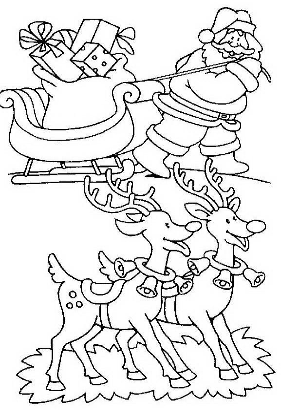 Disegni Babbo Natale: Disegno Babbo Natale con renne