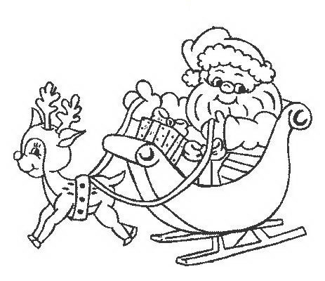 Disegni Babbo Natale: Babbo Natale con dolce renna