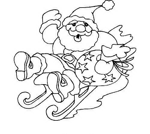 Disegni Babbo Natale: Babbo Natale con slittino