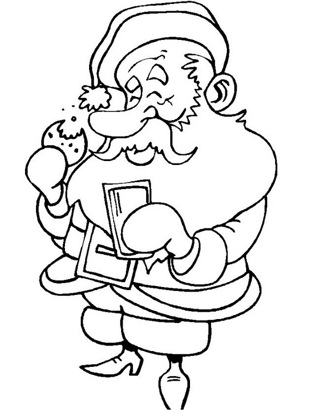 Disegni Babbo Natale: Babbo Natale che mangia e beve