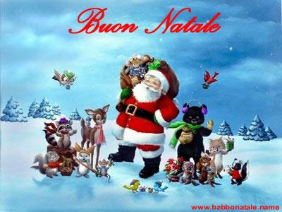 Immagini Babbo Natale - Babbo Natale con amici del bosco