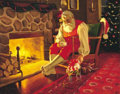 Immagini Babbo Natale - Babbo Natale davanti al camino