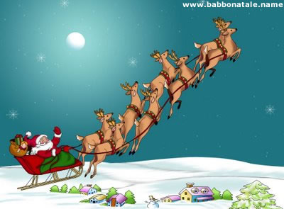 Immagini Babbo Natale - Babbo Natale con renne volanti