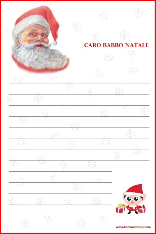Lettera a Babbo Natale da stampare
